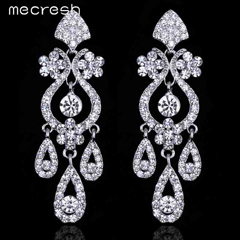 Mecresh Hot Selling Free Shipping Luxurious Crystal Earrings for Women Wedding Accessories Best Gift for Bride EH001