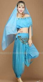 New 2015 Women Halloween Cosplay Party Wedding Belly Dancer Aladdin Princess Jasmine Costume Adults