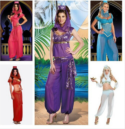 Free Shipping HOT Women Jasmine Aladdin Princess Fancy Costume Belly Dancer Arabian Halloween Costume