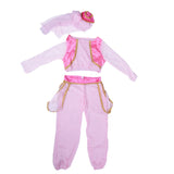 Aladdin Jasmine Cosplay Costume Pink Belly Costume Fantasia Infantil Children Fancy Dress Halloween Costume for Kids