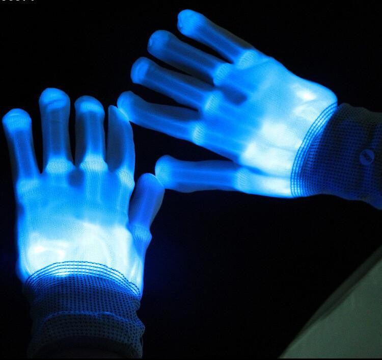 1pair Lighting LED Gloves glow flash colorful skeleton gloves For Party decorations dancing luminous toys