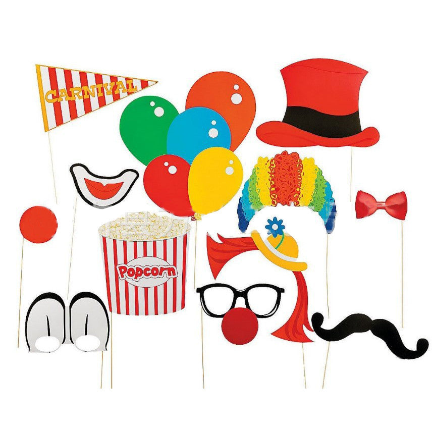 12pcs/set Baby Shower Birthday Party Children's Day Clown Photo Booth Props Christmas Decoration Supplies Kids Funny photo props