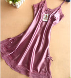 Summer Fashion Rayon V-Neck Women's Nightgown Spaghetti Strap Slim Waist sexy Nightgdress Women Chmise De Nuit