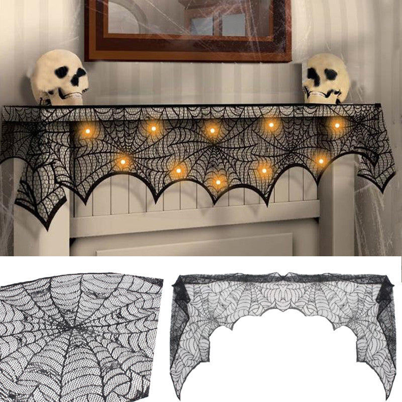 Halloween Party Mantel Door Window Decor Black Cobweb Lace Runner Fireplace Scarf Cover Festive Supplies