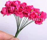 12pcs/lot Valentine Gift MIni Artificial Paper Rose Flower Bouquet for DIY Wedding car  Scrapbooking wall Christmas decoration