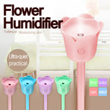 4 Color Portable Flower Air Humidifier & Cool Mist Diffuser Air Purifier 120ml aroma diffuser Mist Discharge 1 PC Free Shipping