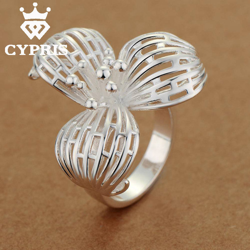 Hot  Promotion  Fashion  silver  Ring Three Leaves Flower Women Party Wholesale Price Free Ship CYPRIS  jewelry