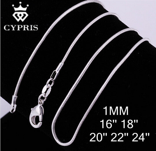 "CYPRIS C008 Cheap Hot 1MM Thin silver Snake Chain Jewelry Findings 16""18""20""22""24"" Wholesale price  jewelry  2pcs/lot"