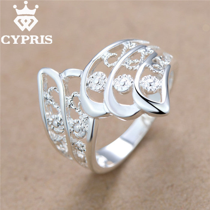 2016 CYPRIS silver Ring Flower women men Party Wholesale Price feather hollow animal wedding lover's Valentines jewelry