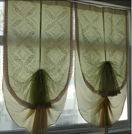 Roman Curtain New sale! Double layers balloon curtain,green voile embroidery and beige satin,semi light shading.The finished cu