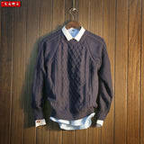 Autumn and winter vintage pullover sweater outerwear men's clothing slim twist needle o-neck sweater male