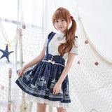 Mori girl Wine red/Navy blue Lolita Japanese sweet Jumper skirt maid fairy tale carriage detachable strap Suspender skirts