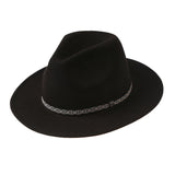 New Retro Bohemia Winter Black Panama Jazz Hats for Women Men Embroidery Band Large Brim Fedoras [HUL238]