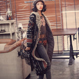 Aporia.As Winter Vintage&Retro Personality Novelty Fur Collar Ethnic IndianTotem Print Warm Thick Long Cotton-Padded Coats Parka