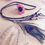 Feather Headband Women 2016 Festival Feather Headband Hippie Headdress Hair Accessories Boho Peacock Feather Headdress