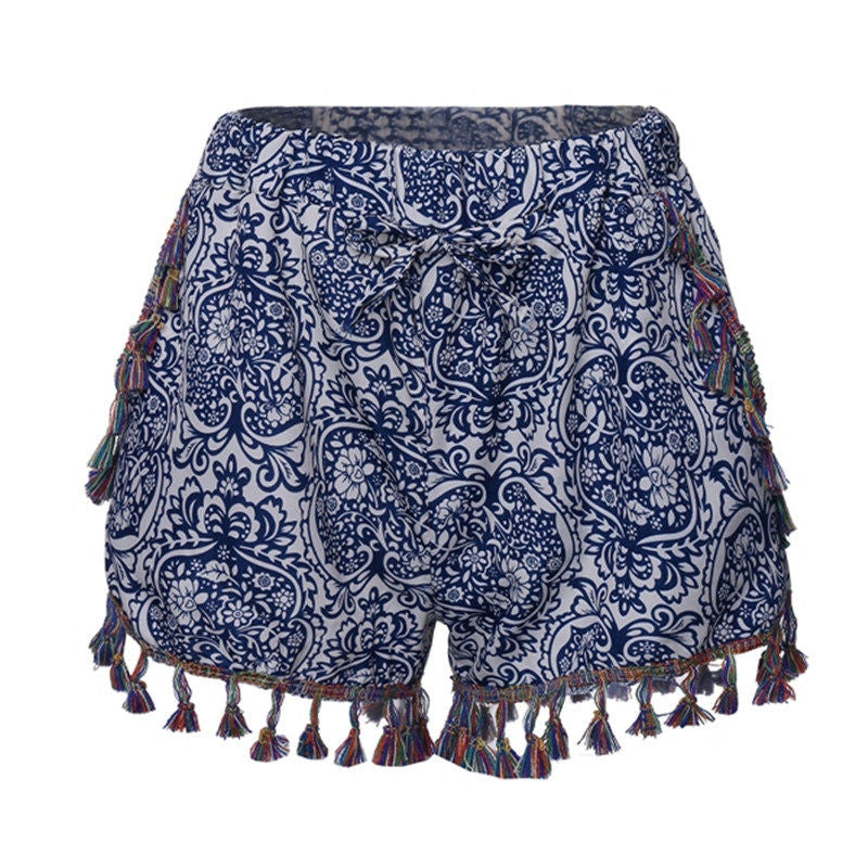 2016 Summer Style Boho Women Shorts Vintage Floral Printed Pom Pom Hem Elastic Waist Sexy Shorts Beach Casual Hot Shorts