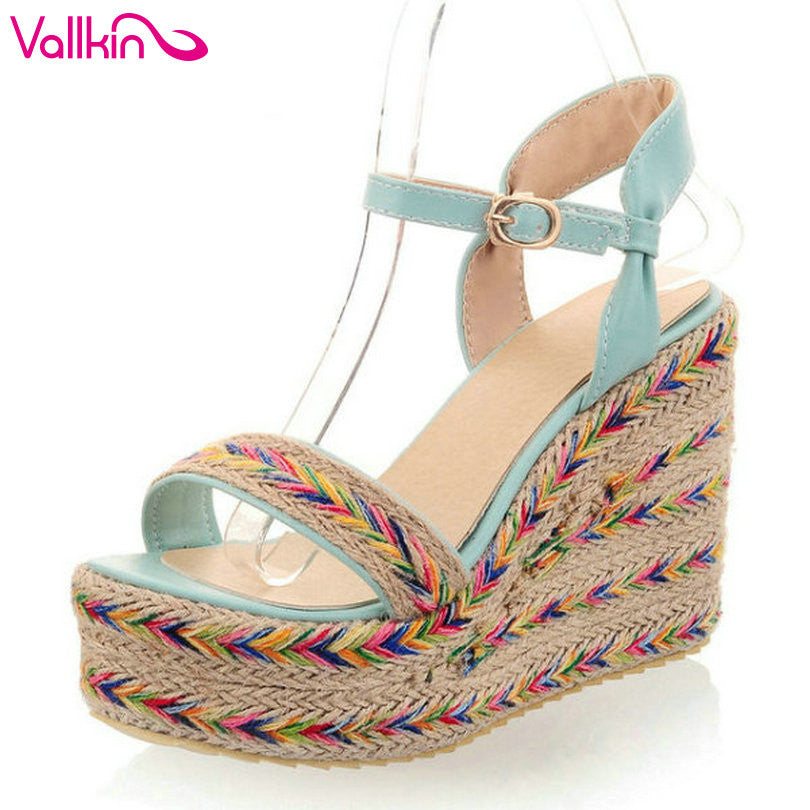 VALLKIN 2015 New arrive Bohemia Style Women Shoes Casual Wedge Heel Open Toe Sandals Black Purple Green Party Shoes Size 34-43