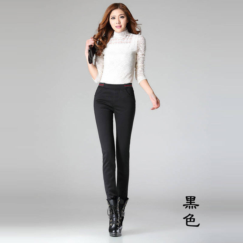 Free Shipping Winter Korean ladies tight warm plus thick velvet casual trousers,Fashion Pencil Pants big size S M L XL XXL XXXL
