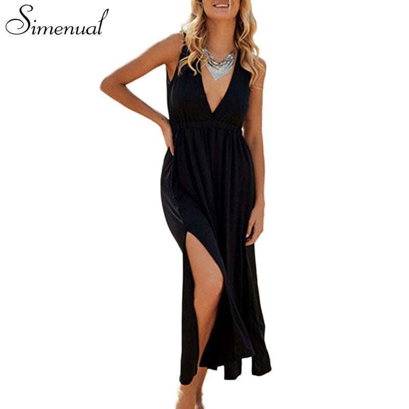 Deep V sexy hot maxi dress summer sundresses for women 2016 casual new slim solid black long dresses ladies sleeveless dresses