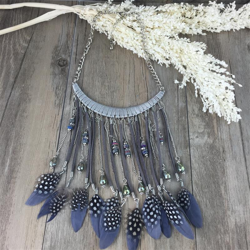 Gros Collier Femme Collares feather Geometric Pendant Charm Women Colar Statement Boho Necklace Choker RS Jewelry