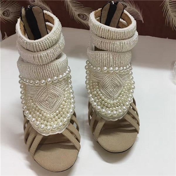 Pearl Covered High Heels Women Sandals Boots Suede Zapatos Mujer 2016 Summer Hot Knitting Zip Women Ankle Boots Shoes Woman