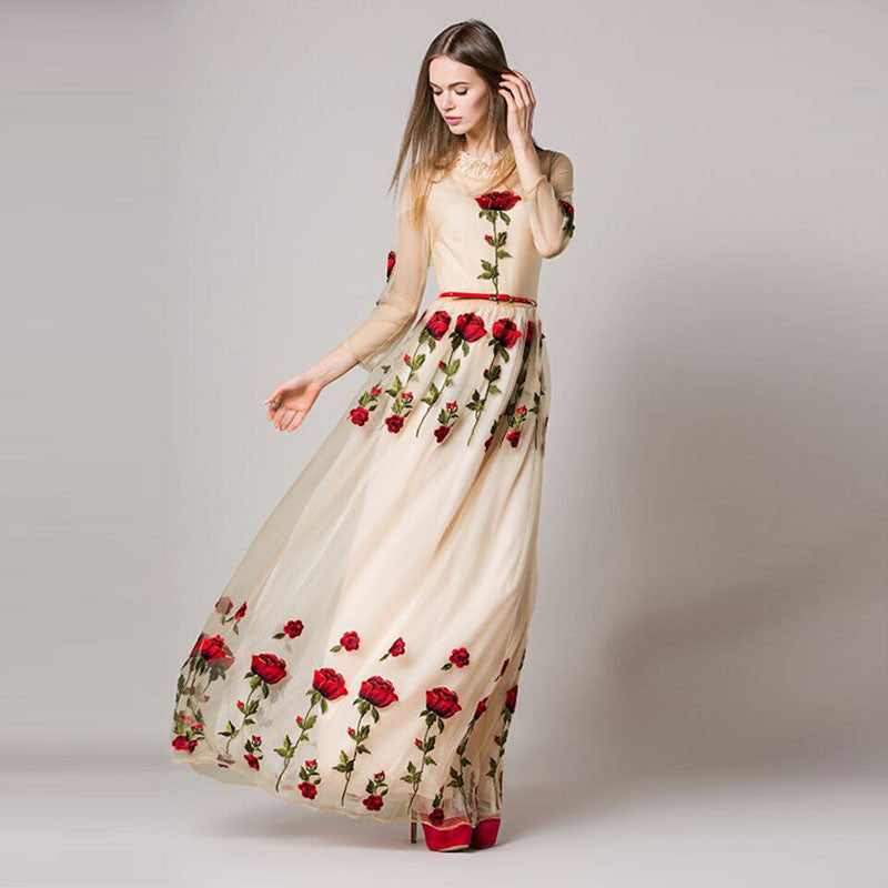high quality 2016 spring new runway dress women's rose embroidery long dress D01106
