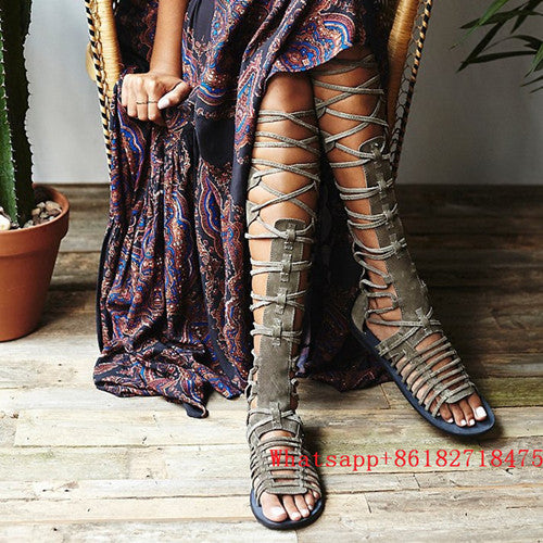 Gladiator Style Shoes Land Sandals Cutouts Sandalias Wonder Thigh Flats Leather Suede Boots Fringe Woman High Tassel Knee rdCoWBxe