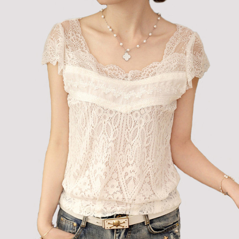 Crochet Blusa Feminino Shirt Women Summer New White Lace Blouse Tops Sexy Short Sleeve Hollow out Women Clothes Blusas 2016 A352