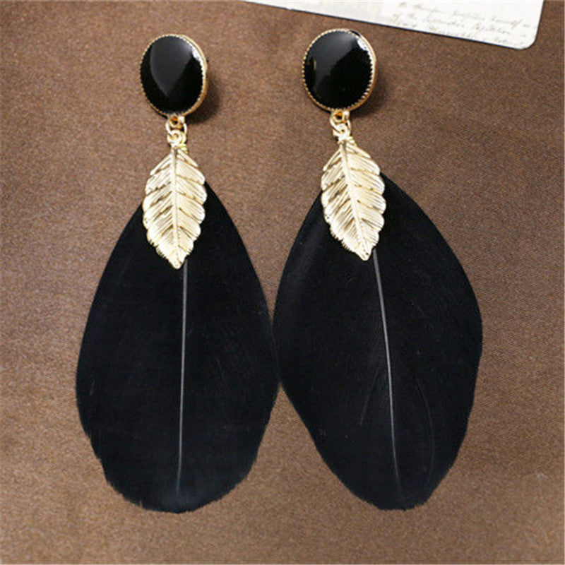 Vintage black feather gem stonegold leaf drop earrings for women