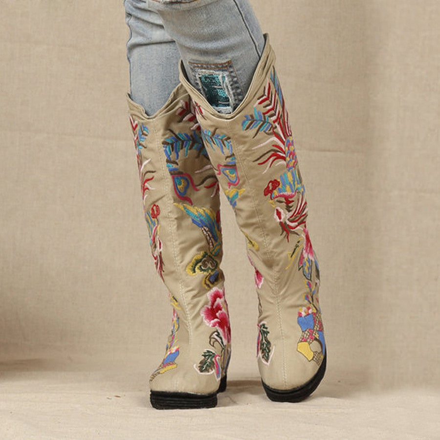 Chinese embroidery knee high flat women boots for spring/ autumn shoes woman