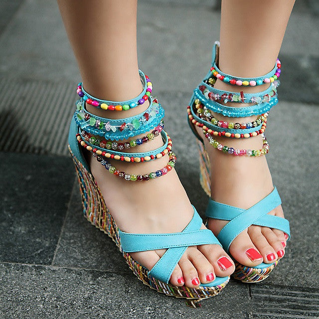 New Wedges Sandals Women's Fashion Bohemian Ethnic Style Hand-beaded Peep Toe Shoes Blue Orange Pink Beige