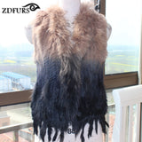 Natural Fake rabbit fur vest with raccoon fur collar waistcoat/jackets rex rabbit knitted  winter for women