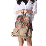 2016 Women Ethnic Flower Printing Backpack Canvas Drawstring Students School Bag Teenage Girls Khaki Shoulder Bag mochila XA482H