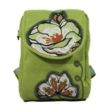 national style cotton fabric flower embroidery women backpack zipper closure with flap middle size casual bag for lady