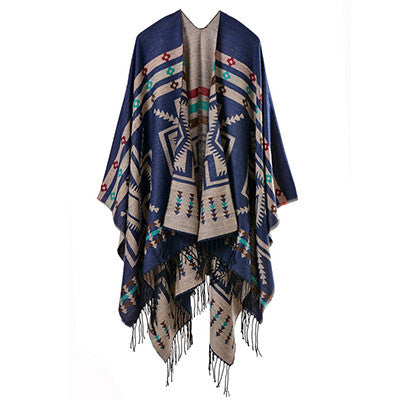 Fashion winter scarves vintage Bohemia tassel double-side Scarf Shawls Women stole Pashmina poncho Bandana warps femme