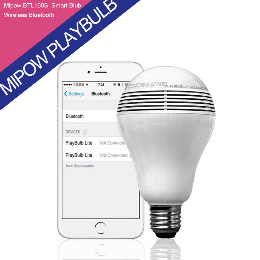 MIPOW PLAYBULB Smart LED Blub Light Wireless Bluetooth Speaker 110V - 240V E27 3W Lamp Audio for iPhone 5S 5C 5 iPad air