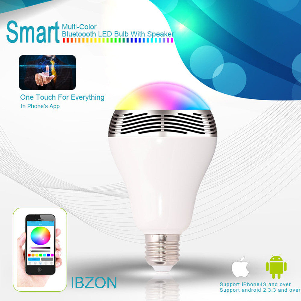 SmartBulb Wireless Bluetooth Audio Speakers E27 LED RGB Light Music Bulb Lamp Color Changing via WiFi App Control