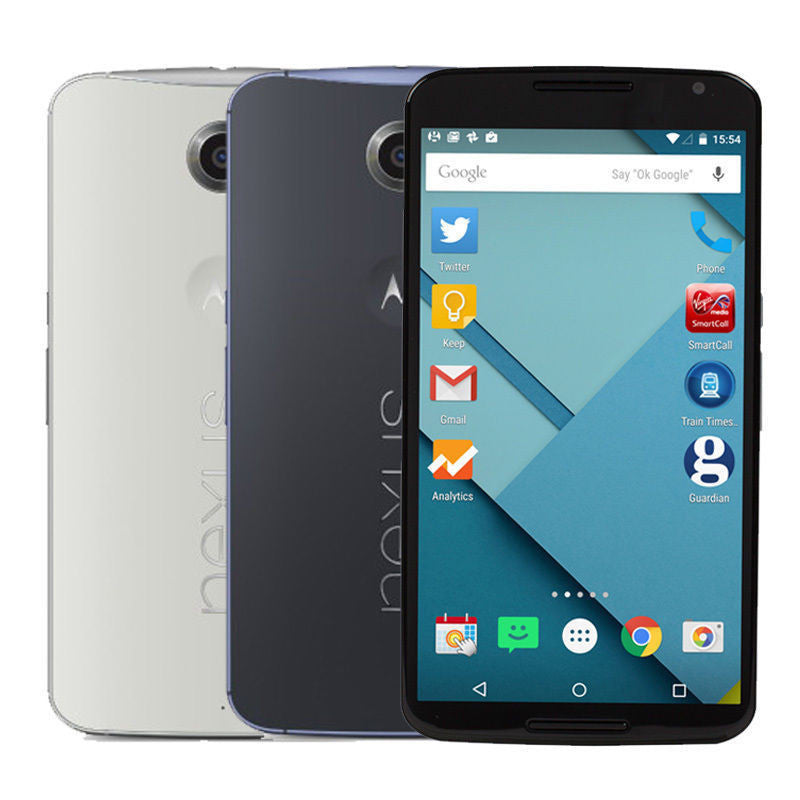 "Original Motorola Google Nexus 6 XT1103 XT1100 Quad Core Cell Phone 5.96"" inch 3GB RAM 32GB ROM 13MP 4G LTE Android Refurbished"