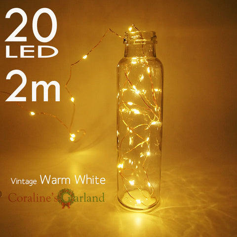 { 2 sets } 2.3M 7.5ft  copper wire string 20 LED AA battery operated fairy lights for holiday party wedding decoration garlands