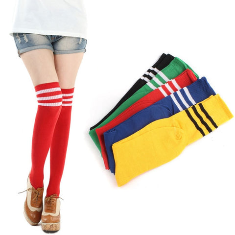 2018 Football Striped Long Stockings Women Hot Thigh High Socks Sexy Warm Cotton Over The Knee Socks For Girls Wholesale S5