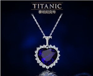 Titanic Heart of the Ocean Sapphire Crystal Chain Necklace Pendant Plate Jewelry