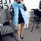 New Women Winter Sleeveless fake Faux Fox Fur Leather Thick Coat Outerwear Vest Plus Size Padded Jacket Overcoat Parka
