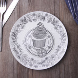 Top-grade Black& White Animal Bone China Cake Dishes And Plates Porcelain Pastry Fruit Tray Ceramic Tableware For Steak Dinner