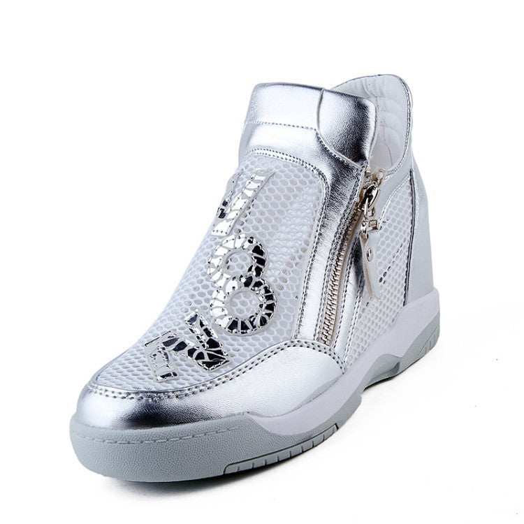 Women Boots Wedge Concealed Heel High Top Platform Ankle Boots Lace-Up Rhinestone Boots Zipper Shoes Size 35-39 Free Ship S49