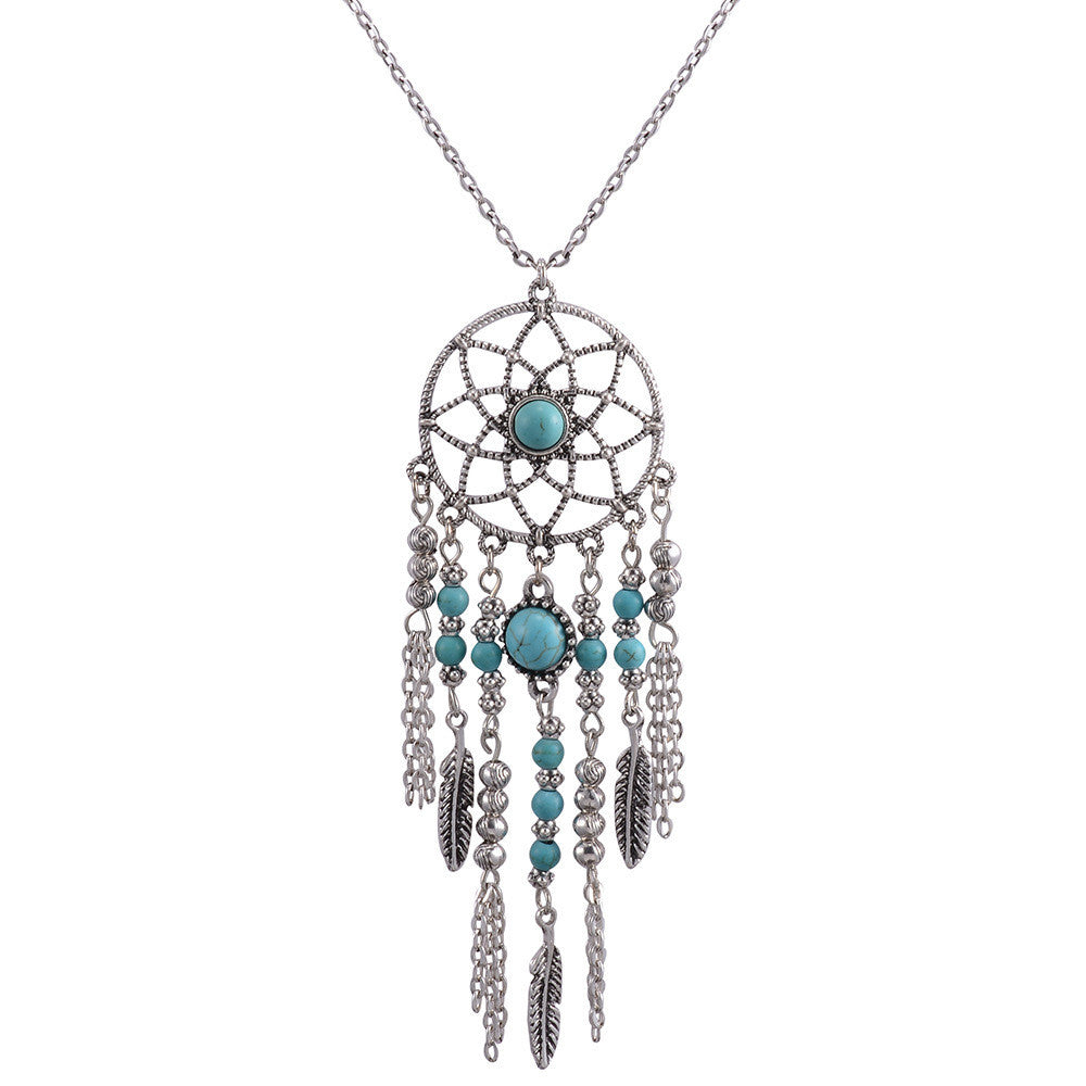 2 colors fashion Bohemia tassle long Turquoise necklace & pendant maxi Accessories Feather necklace women Jewelry Wholesale