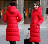 7-14 days To Moscow 2016 Winter Women's Cotton Slim Long Coat Hooded Parka Jackets Coats White Overcoat Plus Size Down Parkas