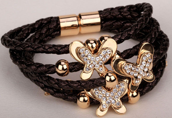Leather butterfly charm bracelet cute fashion jewelry christmas thanksgiving holiday gifts for women girls LA20 wholesale