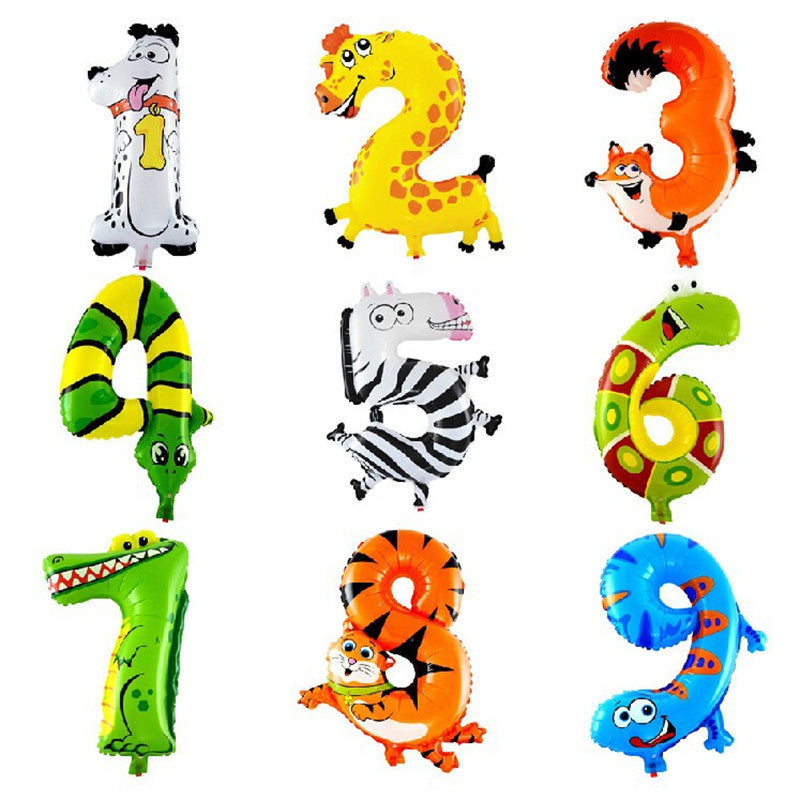 Hot 1pcs18 inch Animal number foil Balloons Kids Party Decoration Ballon Wedding decoration Happy Birthday Gift Children's gifts