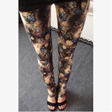 2016 New Rose Flower Printed Leggings Fashion Sexy Women Lady Slim Cotton Pants Multiple colors styles trousers in stock