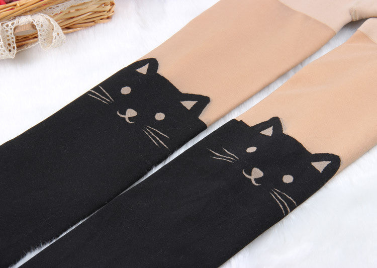 2016 New Time-limited Animal Plus Velvet Thickening Size Waist Winter Spring Warm Legging And Cat Tails Printed Plus velvet 300g